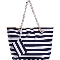 Borsa da spiaggia grande con cerniera 58 x 38 x 18 cm shopper stile marino con strisce bianche e azzurro scuro