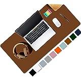 Tapis de bureau double face en cuir et liège naturel Aothia 80 * 40cm, protecteur de bureau en cuir PU lisse/acile à nettoyer