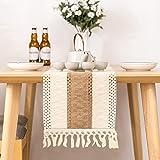 无品牌 Chemin de table en macramé beige - En coton - Vintage - Crochet - Pour décoration de table bohème - 30 x 180 cm