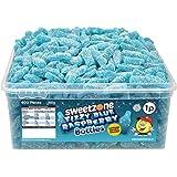 Sweetzone 100 Halal Jelly FIZZY BLUE RASPBERRY BOTTLES Tub of 600pcs, BERRY, 960 gram