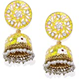 Spargz Yellow Meenakari Gold Plated Kundan and Bead Jhumka for women