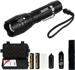 tattico torcia CREE LED 1000LUMEN super luminoso regolabile Focus XML T6Torcia portatile campeggio impermeabile 5modalità luce, 2x ricaricabile 18650agli ioni di litio batterie incluse