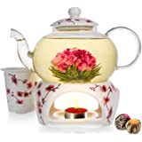 Teabloom Cherry Blossom Teapot & Flowering Tea Gift Set - Stovetop Safe Glass Teapot (27 OZ / 800 ML / 2-3 Cups), Porcelain L