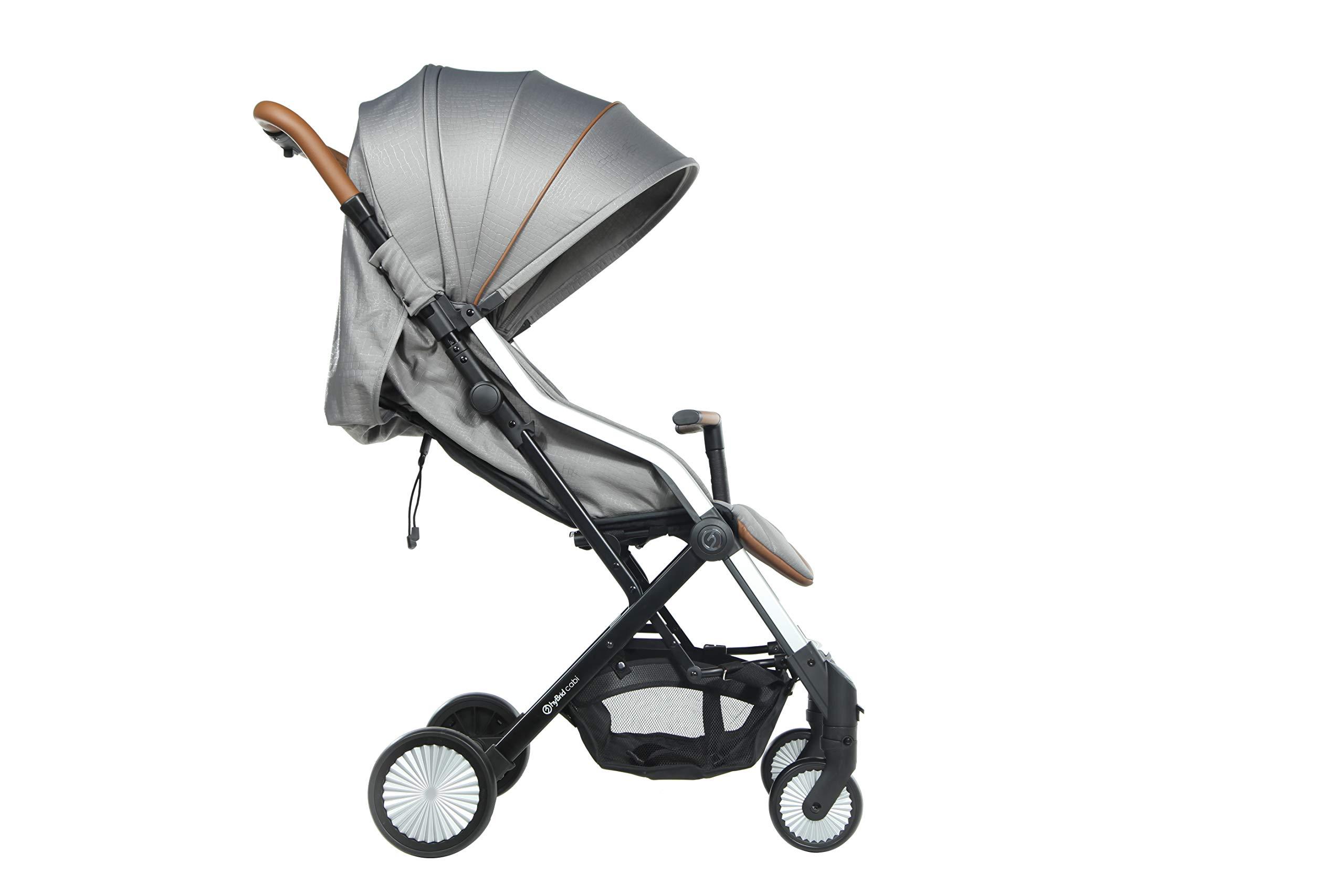Hybrid CABI Stroller, Stone Oyster Lie-flat recline and ventilation window Cabin fold design Adjustable canopy and footrest 4
