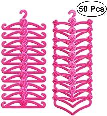 TOYMYTOY 50pcs Plastic Doll Clothes Rack Hanger Heart Shaped Mini Hanger for Barbie Toys Set
