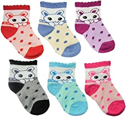 MY BABY 0-12 Months Baby Boy/Girl Soft Touch Cotton Rich Multicolor Socks 6 Pairs