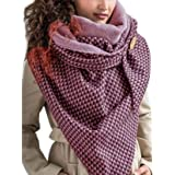 Sciarpa invernale da donna, con bottoni e stampa retrò, multiuso e calda, design avvolgente