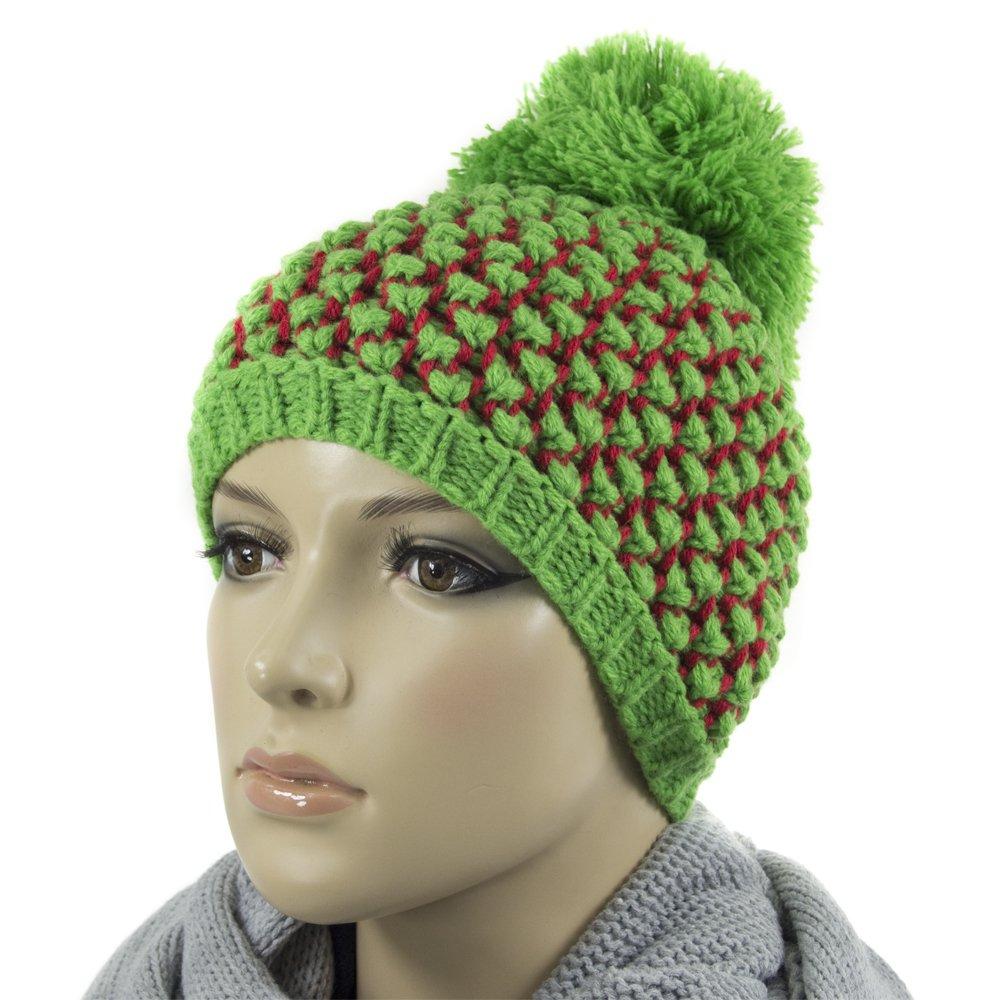 Berretto per donne, ragazzi, lana/Acrilico Bubble Loman, verde