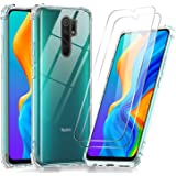 LeYi Case voor Xiaomi Redmi 9 en Screen Protector Gehard Glas [2 pack], Armour Shockproof Cover Crystal Clear Slim Zachte Sil