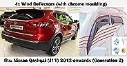OEMM Set van 4 Wind Deflectors Compatibel met NISSAN QASHQAI (J11) TWEEDE GENERATION WINDOW DEFLECTORS met CHROME MOULDING 2