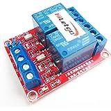 Lot de 2 modules de relais HiLetgo® - DC 12 V - A 2 canaux - Avec optocoupleur isolé - Module de déclenchement de niveau haut / bas - Pour Arduino