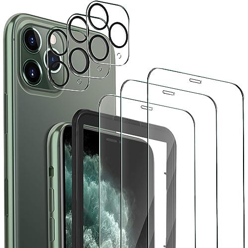 MSOVA per iPhone 11 PRO Vetro Temperato+Pellicola Fotocamera,[3 Pezzi] Durezza 9H Senza Bolle AntiGraffio per iPhone 11 PRO 5.8 Pellicola Protettiva.