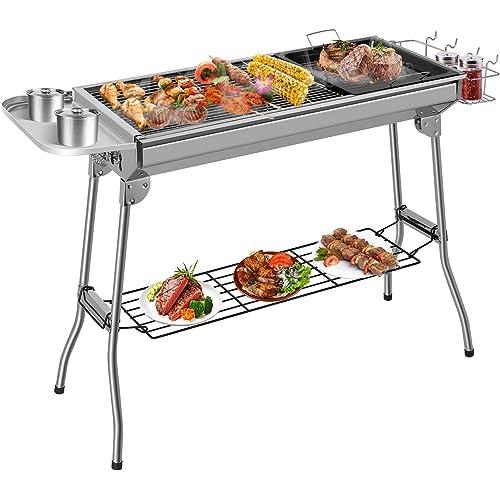 Femor Barbecue Grilia a Carbone, Barbecue Grilia Pieghevole Portatile, Barbecue Grill in Acciaio Inossidabile, Padella Antiaderente Buona Ventilazione per Picnic all'aperto, Campeggio(5-10 Persone)