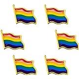 Hicarer 6 Pacchi Gay Pride Pin Bandiera Ondulata Arcobaleno LGBT Distintivi a Spillo Pin Spilla in Metallo Regalo Bandiera Ar
