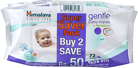 Himalaya Babycare Gentle Baby Wipes - 72 Wipes(Pack Of 2)