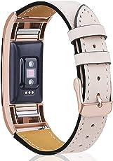 "Mornex Kompatibel Fitbit Charge 2 Armband, Echte Leder Armbänder, Unisex Ersatzband mit Metall Konnektoren(5,5""-8,1"")"