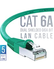 iVoltaa Ethernet Cable CAT6A Cable Dual Shielded (SF/UTP) Professional Series - 10Gigabit/Sec LAN Network/High Speed Internet Cable, 550MHZ 5 Feet (1.5M)