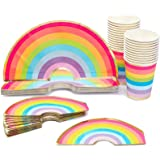 Rainbow Party Bundle, Includes Plates, Cups and Napkins (Serves 24 Guests)