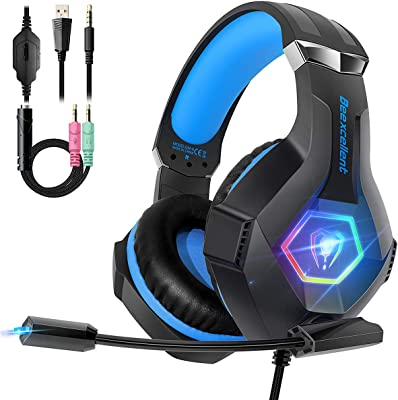 Beexcellent Cascos PS4 con Micrófono Flexible para Xbox One PC Nintendo PS4 Tableta Laptop, Auriculares con Premium...