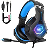 Cascos PS4 con Micrófono Flexible para Xbox One PC Nintendo PS4 Tableta Laptop, Auriculares con Premium Stereo, Orejeras Acol
