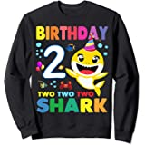 Compleanno 2 Due Anni Regalo 2 Year Old Baby Shark Birthday Felpa