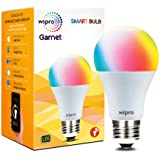 Wipro WiFi Enabled Smart LED Bulb E27 9-Watt (16 Million Colors + Shades of White) (Compatible with Amazon Alexa and Google A