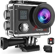 Campark ACT76 Action Cam 4K Wi-Fi 16MP FHD Impermeabile 30M Immersione Sott'Acqua Camera con Schermo 2 Pollici 170 Gradi Ampi