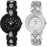 Cubia Analogue Women's Watch (Black & White Dial Black Colored Strap)