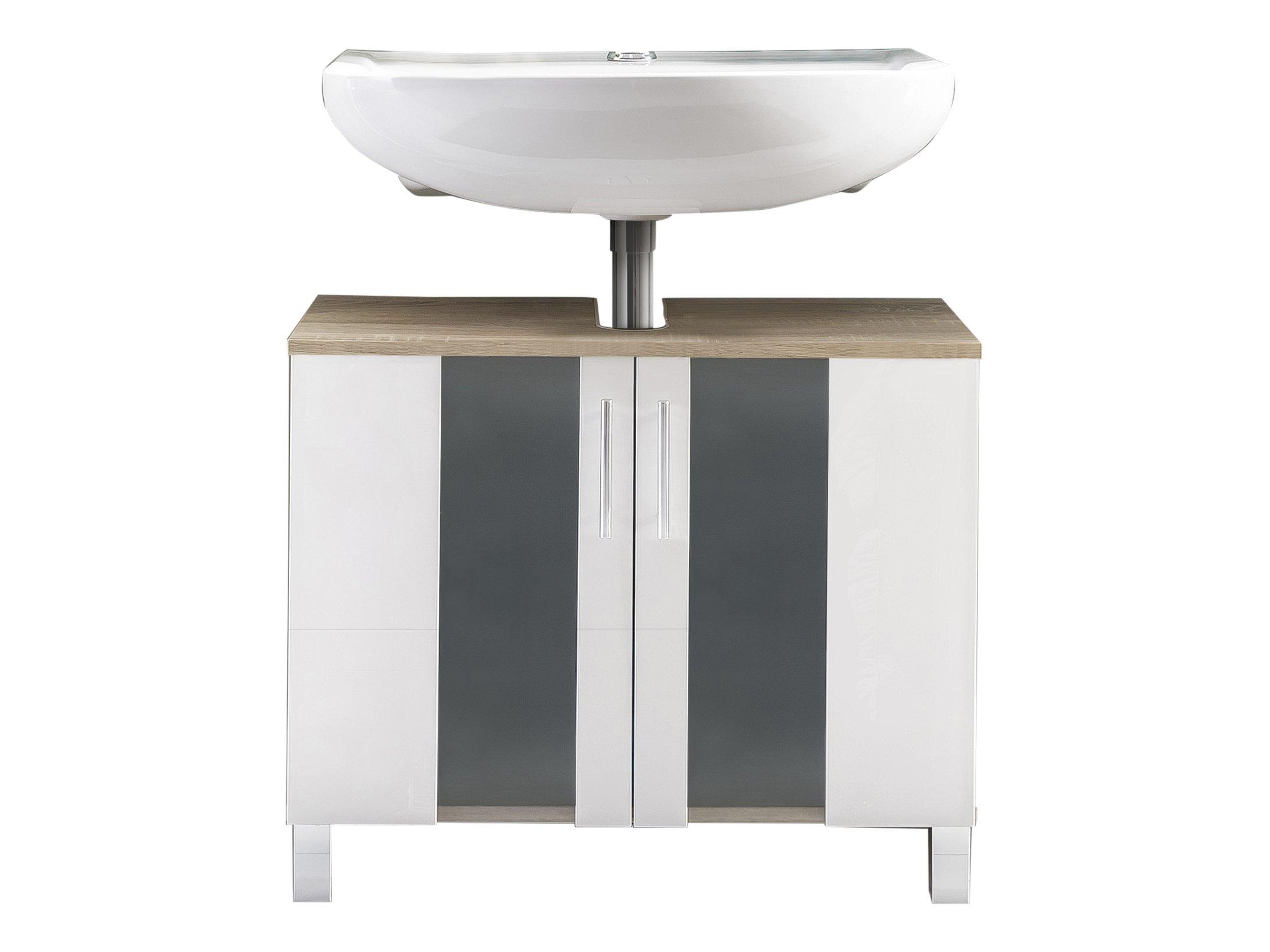 trendteam pto30141�mobiletto sotto-lavandino bianco in melammina, imitazione quercia, vetro satinat