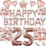 Rose guld 25-årsdag dekorationsuppsättning - Grattis på födelsedagen brev ballonger krans latex ballonger konfetti ballonger