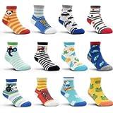 Toddler Grip Socks - 12 Pairs Baby Boy Infant Kid Children Anti-slip Socks for 1-7 Years Old Girl Non Skid Socks