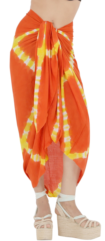 LA LEELA Rayon Costumi da Bagno Involucro Pareo Avvolgere Lungo Sarong Tie Dye 1 spesavip