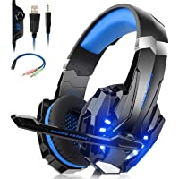 Willnorn Stereo Gaming Headset with Mic for PS4,Xbox One,PC,Nintendo Switch,Mac/Noise Cancelling Wired Over-Ear Headphones with Microphone & Volume Control,3.5mm Jack,LED Lights, Bass Surround(Blue)