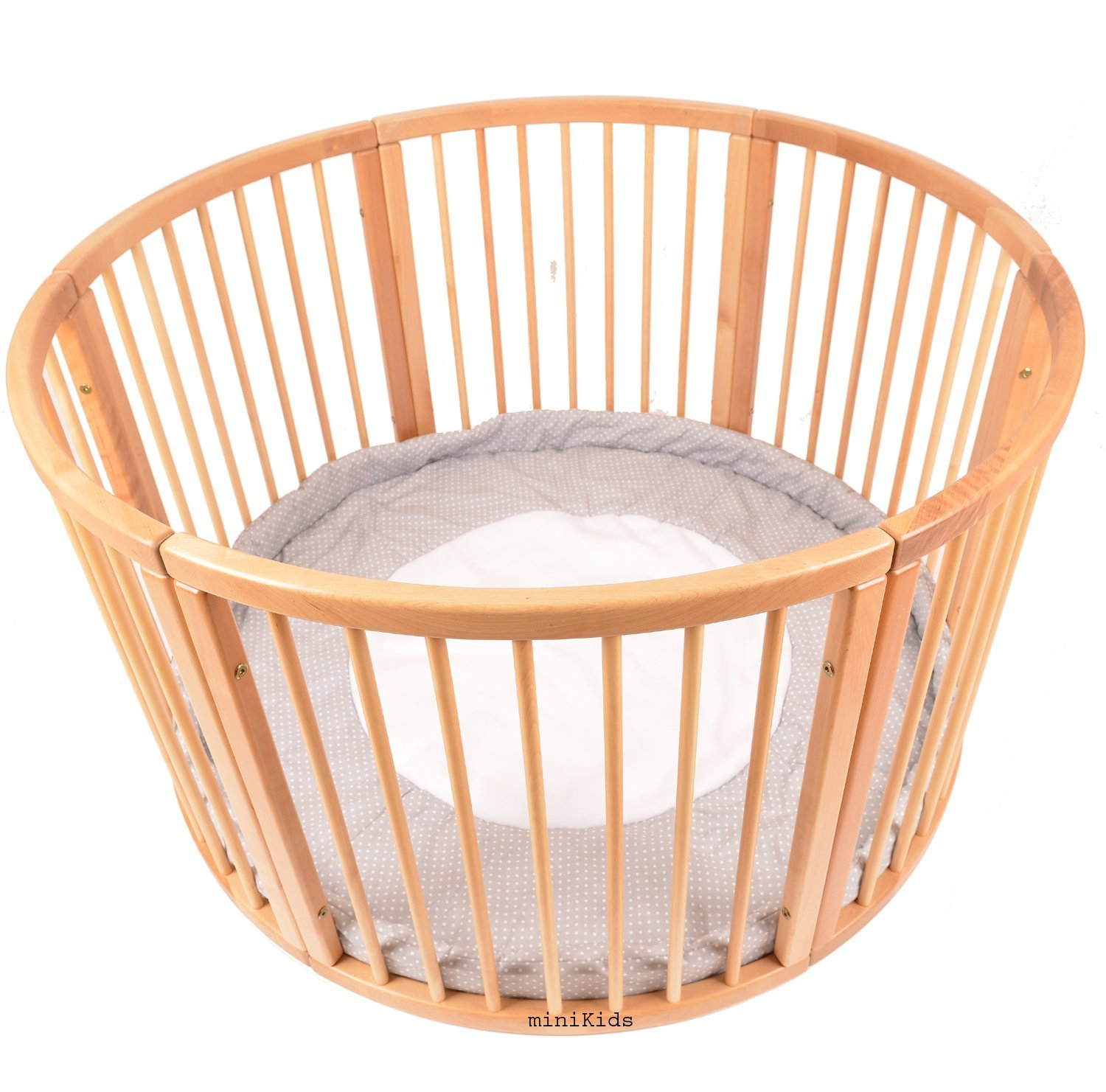 Solid Wood Round Playpen Play Pen with Soft Layer Diameter 120 cm Laufgitter from ALANEL  ALANEL