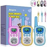 Anpro Walkie Talkie Niños,Walkie Talkie,8 Canales de Transmisión con Pantalla LCD y Linterna, Regalos Niños para Actividades