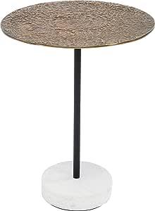 Febland White Round Glass Top Podium Side Table 43x43x52 cm