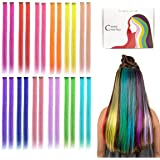 Kyerivs Colored Clip in Hair Extensions 20inch Rainbow Heat-Resistant Straight Highlight Hairpieces Cospaly Fashion Party For