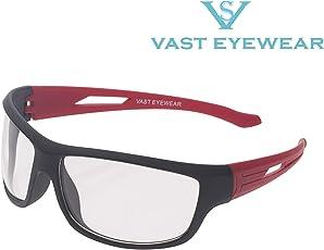 Vast UV Protected Sport Unisex Sunglasses (PREMIUM_NT_BLACK_RED_CLEAR_C3|60|Transparent)