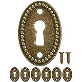 FUXXER® - 6x antieke ovale sleutelborden, slot-rozetten, slot-beslag, afdekking voor sloten, sleutelgat, vintage messing desi