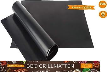 """""""GrillonHill"""" Premium Grillmatte (2er Set) - zum Grillen und Backen I [40X33 cm] I Teflon Antihaftbeschichtung, wiederverwendbar für Gas-, Kohle-, Elektrogrill und Backofen, PFOA-frei - Ideal für Fleisch, Fisch, Gemüse oder Cookies & Brötchen I Backmatte I Grillfolie I TeflonmatteI"""