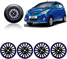 Autopearl - Premium Quality Car Black and Blue Wheel Cover Caps 12 Inch Press Type Fitting For - Hyundai Eon D Lite