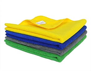 SOBBY Microfiber Car Cleaning,Detailing & Polishing Cloth - Set of 4-300 GSM (40cm x 40cm, Multicolor)
