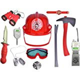 Kids 11 Piece Fireman Gear Firefighter Costume Role Play Dress Up Toy Set with Helmet and Accessories (Starter)