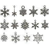 Charms fiocco di neve vintage Ciondoli in argento misto fiocco di neve Charm fiocco di neve di Natale può essere usato come o