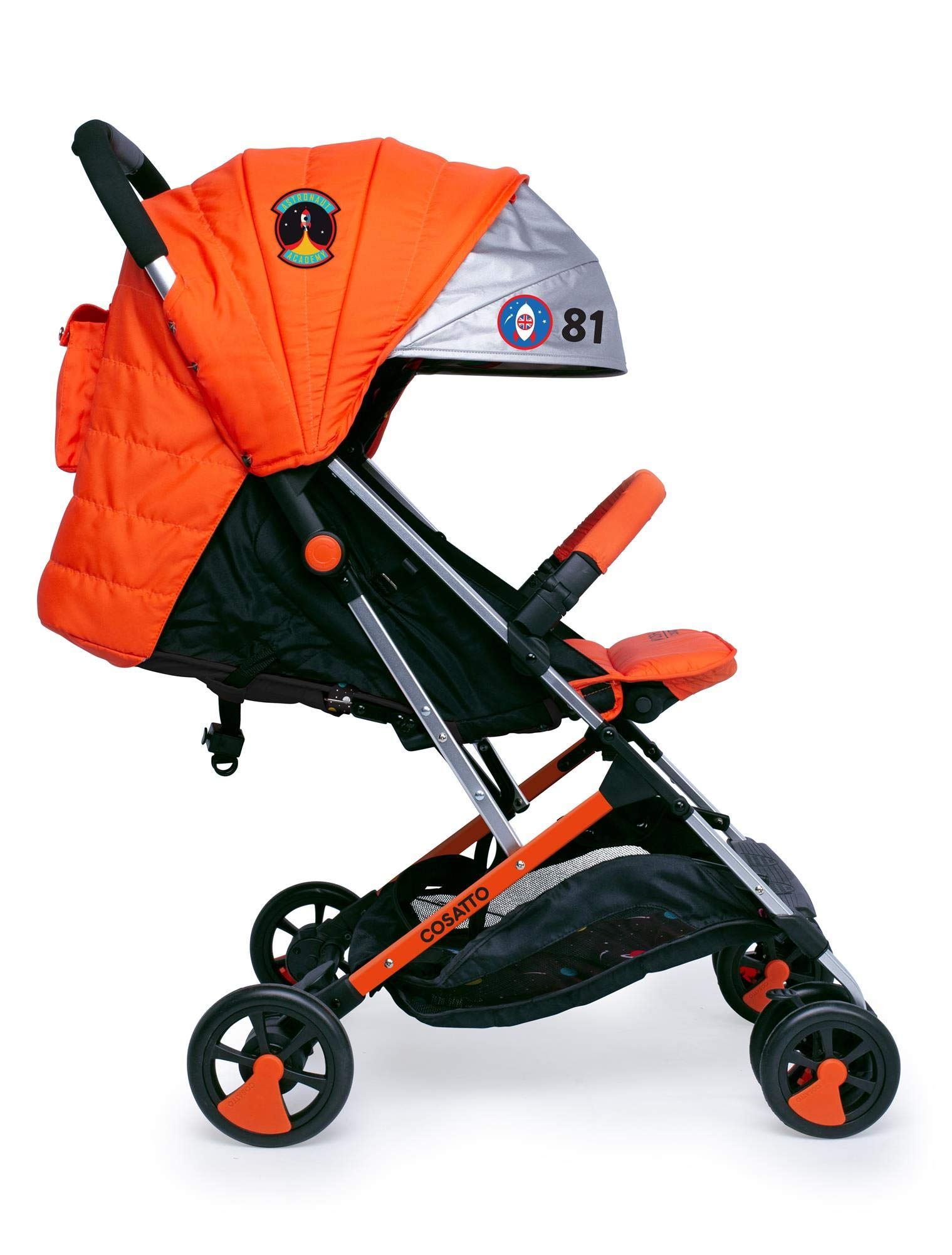 Cosatto Woosh 2 Stroller Spaceman with raincover and Bumper bar Birth to 25kg Cosatto INCLUDES: The pushchair itself, Raincover, Bumper bar,4 year guarantee(UK and Ireland only) Suitable from birth to max weight of 25kg. Lets your toddler use it for even longer. Lightweight, sturdy aluminium frame. Newborn recline. Lightweight waterproof Ripstop fabric on seat. Lockable swivel front wheels for quick manoeuvres Roomy seat for extra comfort. Removable bumper bar for extra support. Magic bell. Front & rear suspension for a smooth ride. 1