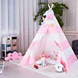 Triclicks Kids Teepee Play Tent Indian Children Wigwam Tipi Play House - 100% bomullsduk Portable Princess Girls Tent för ino