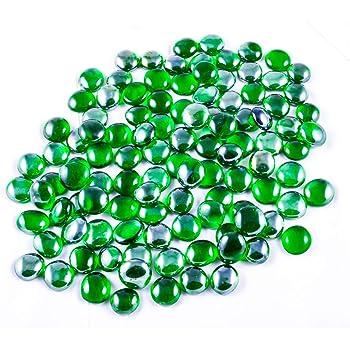 ARSUK Cailloux décoratifs, Decostones, Ronde Perles, Accessoires et Objets de décoration 200pcs (1kg) (Vert)