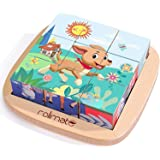 Rolimate Juguetes Rompecabezas de Cubos de Madera, Bloques de Rompecabezas de Animales Juguete Educativo Montessori, Regalos