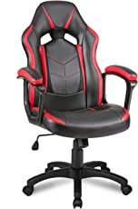 Merax® Schreibtischstuhl Racing Stuhl Gaming Stuhl Bürostuhl Sportsitz Drehstuhl PU Kunstleder, Schwarz+Rot/Blau
