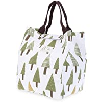WAWJ 5 Déjeuner en Coton Isolé Panier de Déjeuner Soft Cooler Sac Réutilisable lunch bag isotherme enfant Femme (Arbre…